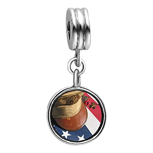Memorial Veterans honor army cap Peridot Crystal August Birthstone Flower Dangle Charm Bracelets (Peridot Flower Charm)