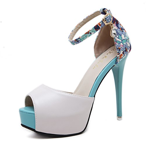 Fine Women Shoes Fish Blue With Taiwan yalanshop Mouth Sandals Heeled 34 Waterproof Female High nXIYwwgp1q