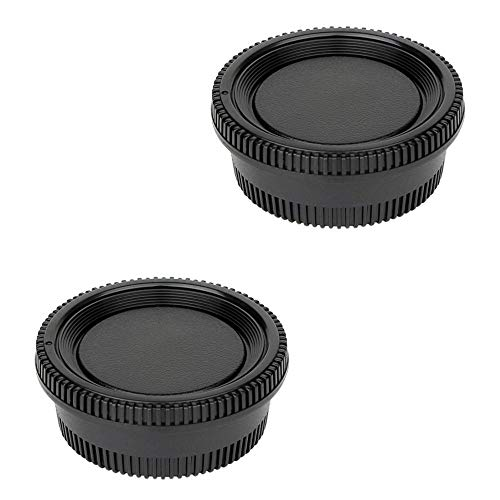 2 Pack Camera Body Cap & Rear Lens Cap Compatible for Nikon D3500 D3400 D3300 D3200 D3100 D5100 D5200 D5300 D5500 D5600 D7000 D7100 D7200 D7500 D600 D610 D750 D800 D810 D850 D90 with F Mount Lens