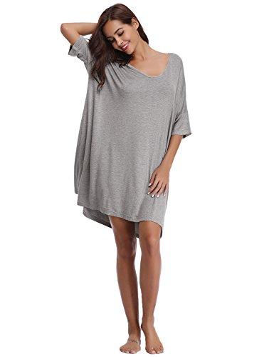 Aibrou Women's V-Neck Short Sleeve T-Shirt Dress Loose Nightshirt ()