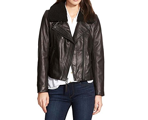 (Michael Kors Moto Leather Jacket with Fur Collar-Black-L)