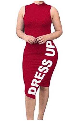 Coolred-femmes Travail Maigre À Manches Longues Lettre Sexy Imprimé Mi Robe Rouge Vin
