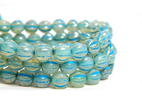 6mm Blue Mercury Melon Round Beads White Opal Aqua Fluted Czech Glass (Fluted Wood Ring)