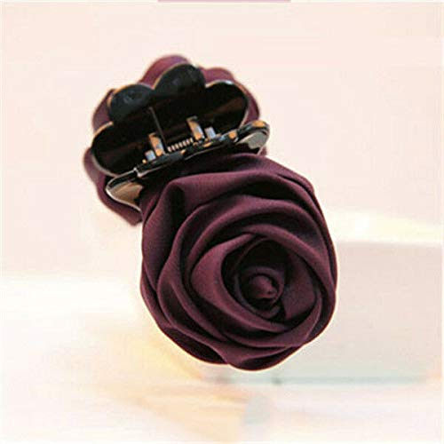 (Women Vogue Rose Flower Hair Clip Claw Comb Hairpin Clamp Accessory Headwear New (Colors - Dark Purple))