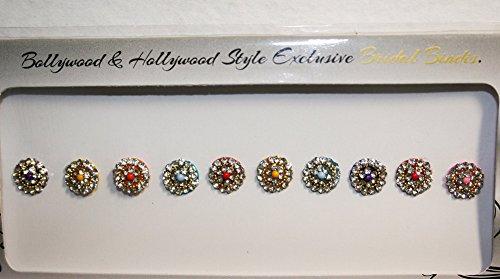 - BridalBindis Premium Pack round face Bindi Jewels reusable body jewel stick on Fancy Tattoo - BB1