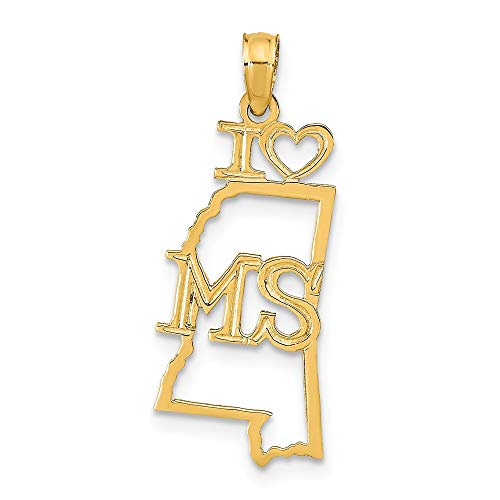 14K Yellow Gold Solid Mississippi State Small Charm Pendant
