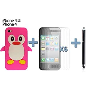 OnlineBestDigital - iPhone 4S / iPhone 4 Penguin Style Silicone Skin Case / Cover / Shell - Hot Pink with 6 Screen Protector and Stylus