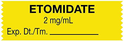 MedValue Anesthesia Tape, Etomidate 2 mg/mL, 1-1/2'' x 1/2'', Yellow - 500 Inches Per Roll by MedValue