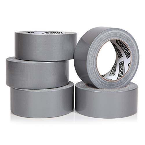 Heavy Duty Silver Duct Tape - 5 Roll Multi Pack Industrial Lot - 30 Yards x 2 inch Wide - Large Bulk Value Pack of Grey Original Extra Strength, No Residue, All Weather. Tear by Hand