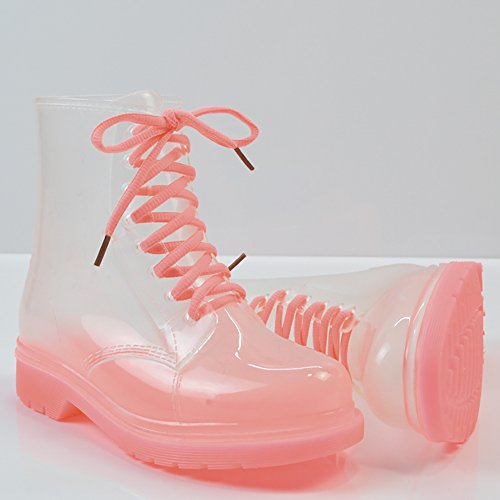 Waterproof up Martin Rain Lace Boots Shoes Toe QZUnique Transparent Rain Pink Women's Round EqUCZ
