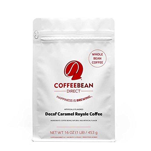 Coffee Bean Direct Decaf Caramel Royale Flavored, Whole Bean Coffee, 16-Ounce Bags (Pack of 3) ()