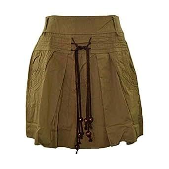 Reflex Beige Cotton Pleated Skirt For Women