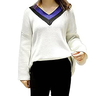 BESYL White Women's Plus-Size Plain Long Sleeve Relaxed Casual Sweater, X-Large