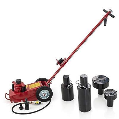 "Globe House Products GHP 145PSI Cast Iron & Steel 8.5""-17.13"" Lifting Range 22-Ton Air Hydraulic Floor Jack"