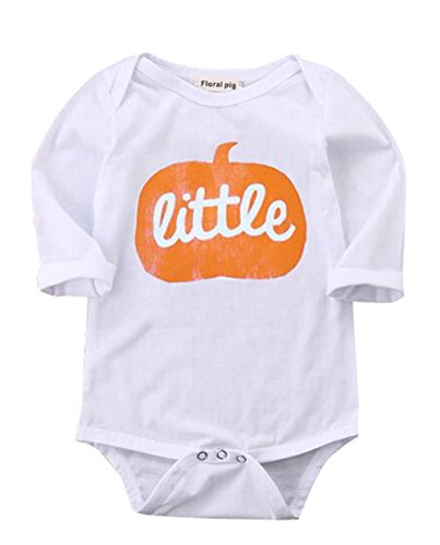 [Baby Boys/Girls Costume Outfit Pumpkin Face Halloween One-Piece Bodysuit Romper (0-6M, White)] (Halloween Outfits For Little Girls)