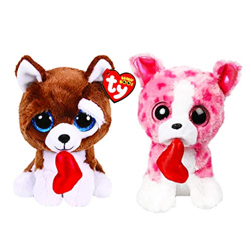 Ty Valentines Day Beanie Boos Set -- Bundle Includes Romeo Dog and Smootches Dog with Red Hearts