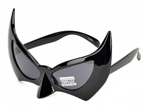 MJ Eyewear Batman Sunglasses Face Mask Catwoman Costume (Black, Black)