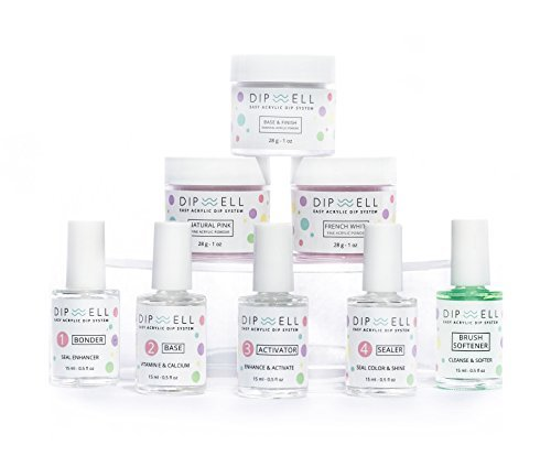 Dipping Nail Starter Kit, Easy Acrylic Powder and Gel Resin Kit For Dip, Starter System For French Set by DipWell Nails (Comes With Bond, Base, Activator, Sealer, Brush Softener + - Glasses To Sanitize How