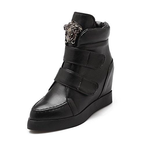 AllhqFashion Mujeres Caña Baja Sólido Velcro Puntera Redonda Cuña Botas con Metal Negro