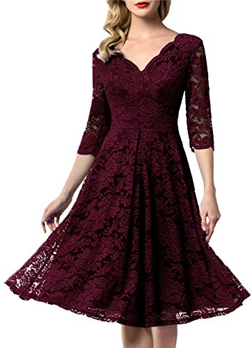 AONOUR 0056 Women's Vintage Floral Lace Bridesmaid Dress 3/4 Sleeve Wedding Party Midi Dress Burgundy 3XL ()