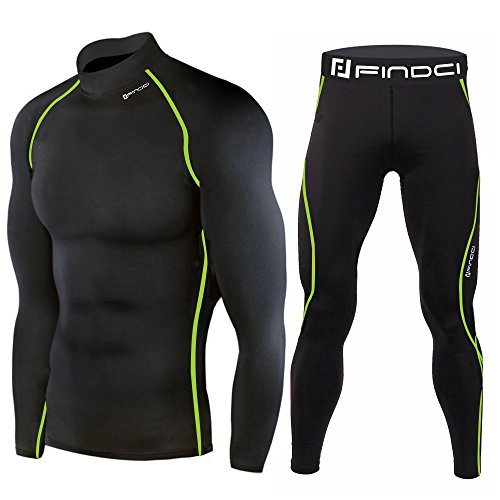 Findci Mens Compression Long Sleeves Trousers Elastic Sweatsuits Tight Sports Suits