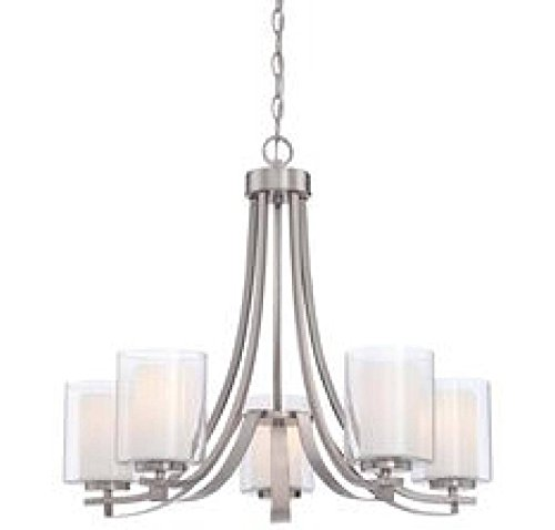 Minka Lavery Chandelier Pendant Lighting 4105-84, Parsons Studio Dining Room, 5 Light, Nickel