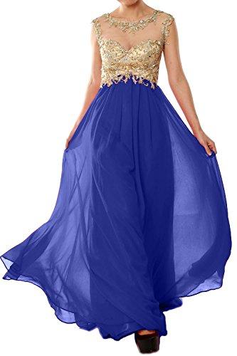 MACloth Women Cap Sleeve Gold Lace Chiffon Long Prom Dress Evening Formal Gown Azul Real