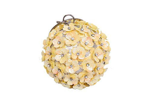 Women Beaded Sequin Butterfly Round Ball Clutch Ring Handle Evening Bag (Yellow)