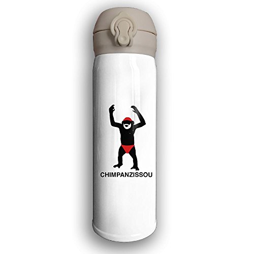 Stainless Water Bottle Custom Funny Monkey,Sports Drinking Bottle,Leak-Proof Vaccum Cup,Travel Mug,With Bounce Cover,White
