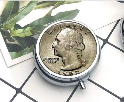 hars US Quarter Image Coin Jewelry w Your Year - Custom Birthday Gift - US Quarter Dollar - Coin Keychain - Coin Jewelry - George Washington Pill Box/Pill case Everyday Gift