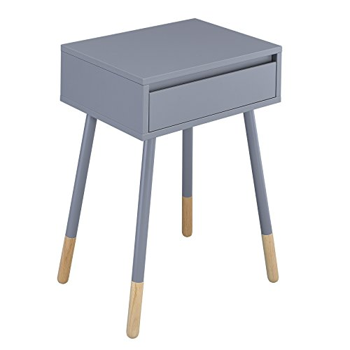 (ModHaus Living Mid Century Modern Wood Metal Top Accent Side End Table with 1 Drawer and Angular Two Tone Legs - Includes Pen (Gray))