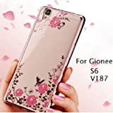 LOXXO New Edition Case For Gionee S6 - Shockproof Silicone Soft TPU Transparent Auora Flower Case with Sparkle for Gionee S6 Back Cover (Gold)