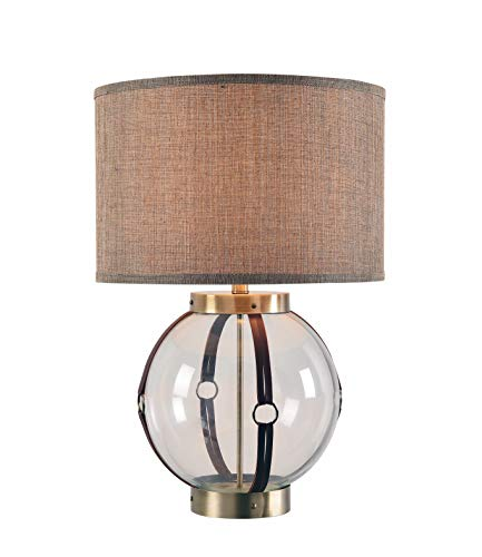 Kenroy Home 33019AB Tanner Table Lamp, Clear Glass w/Antique Brass and Leather Accents