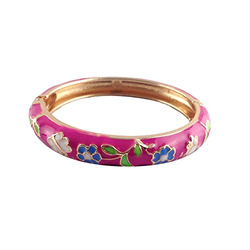 UJOY Childrens Bangles Cloisonne Jewelry Indian Gold Plated Enamel Flower Butterfly Bracelets Opening Hinged with Box 55D14 ()