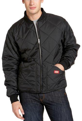 (Dickies Men's Water Resistant Diamond Quilted Nylon Jacket, Black, Large)