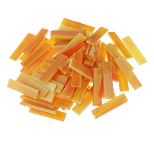 ulk Glass Mosaic Tiles Pieces Rectangle Strips for DIY Hobbies Art Craft Material Accessories 8 Colors to Choose - 10mm x 40mm - orange (Orange Stained Glass Mosaic Tile)