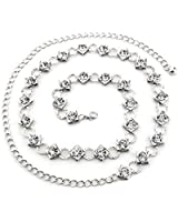Women's Silver Charm Belt with Diamante Chain - Ladies Fashion Accessory with Faux Diamond Gemstone - Midriff Adornment Ideal for Casual or Semi-Formal Wear - One Size Fits All - Style 278