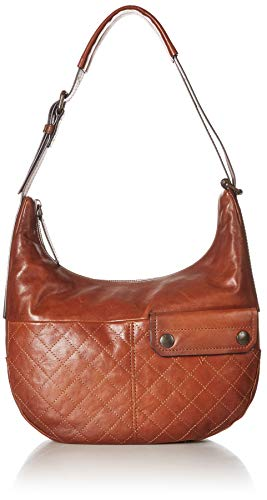 FRYE Samantha Quilted Leather Zip Hobo Bag, cognac