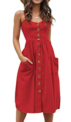 (Womens Summer Button Down Casual Swing Plain Solid Midi Dress Pockets Red Plus)