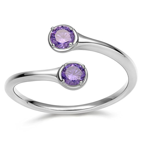Wrap Adjustable 925 Sterling Silver Simulated Birthstones Cubic Zirconia Wedding Engagement Rings