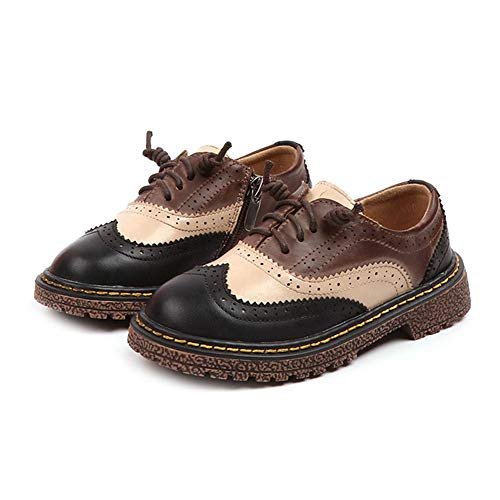 F-OXMY Boy Wing Tip Two-Tone Dress Shoes Side Zip School Oxfords Shoes (Toddler/Little Kids) Black by F-OXMY