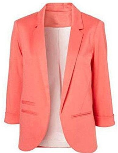 MLG Womens Vouge Slim Folding Sleeve Workwear Cardigans Blazers peach puff XX-Large