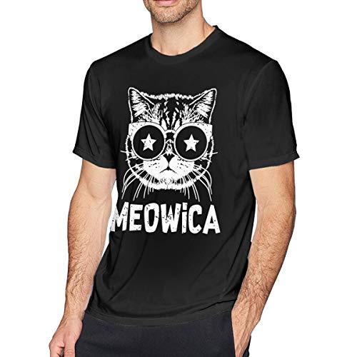 (Meowica America Patriot Cat Men's Short Sleeve Crewneck Cotton T-Shirt Black)