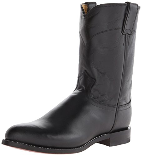 Justin Lizard - Justin Boots Men's Ropers, Black Kipskin, 8.5 D US
