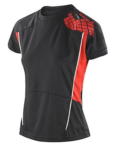 SPIRO Ladies Training Shirt, Black / Red, M (40)