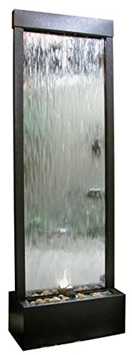 Alpine Mirror Waterfall with Decorative Stones and Light, Silver