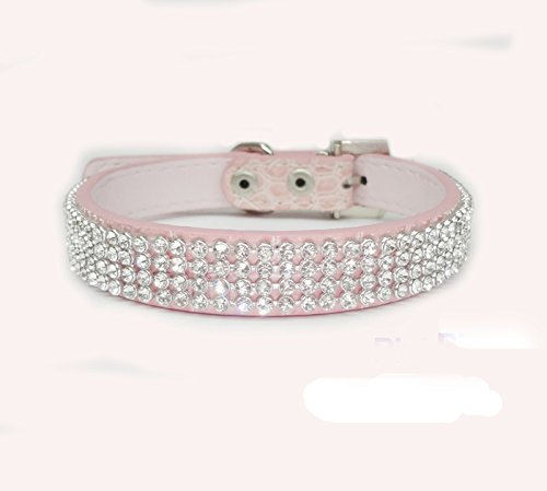 haoyueer Cute Dazzling Sparkling Elegant Fancy Crocodile PU Leather Bling Rhinestone Crystal Jeweled Pet Cat Dog Puppy Collar(Pink,S)