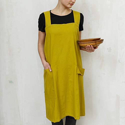 Apron, linen apron, Linen pinafore apron, Square cross linen apron, Japanese style apron,linen women apron,kitchen apron, Pocket linen apron from HOOTA / feel nature