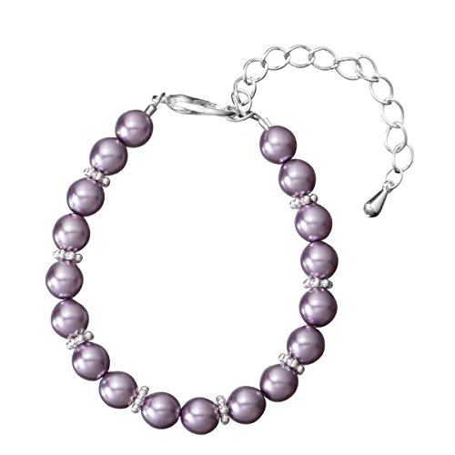 Crystal Dream Violet Glass Pearls Baby Bracelet with Daisy spacers and 2