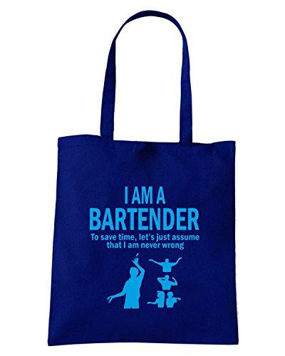 T-Shirtshock - Bolsa para la compra BEER0240 I m a bartender Azul Marino